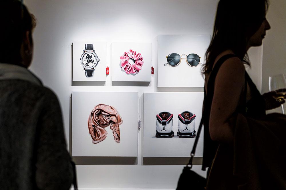 Un-Fancy, Erin Rothstein, Taglialatella Galleries, Toronto, Opening, Exhibition, Scrunchie, Ray Bans, Glasses, Air Jordans