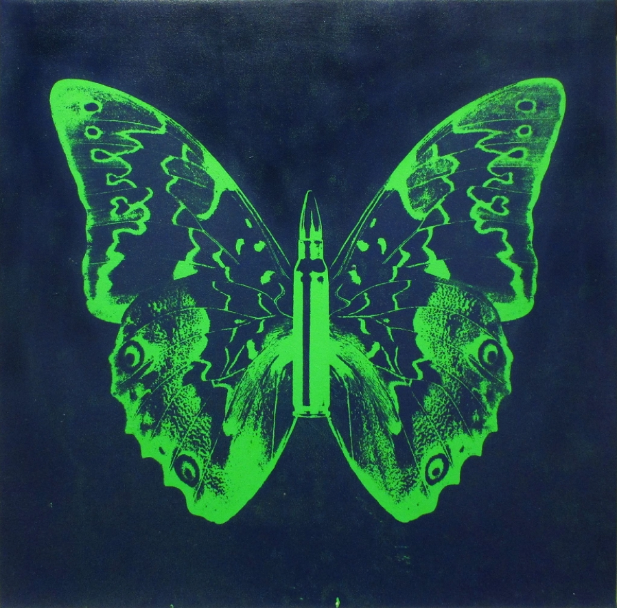 Rubem Robierb, Green Butterfly II on Blue