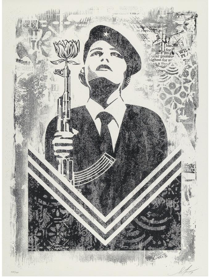 Shepard Fairey, Peace Guard 2, Damaged Stencil Series