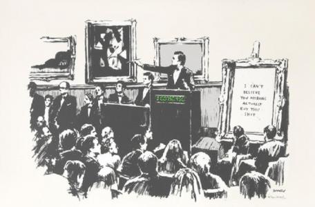 Banksy, Morons (White), 2006