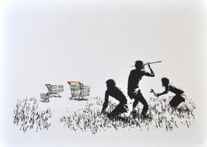 Banksy, Trolleys (Black, 2007 & White)